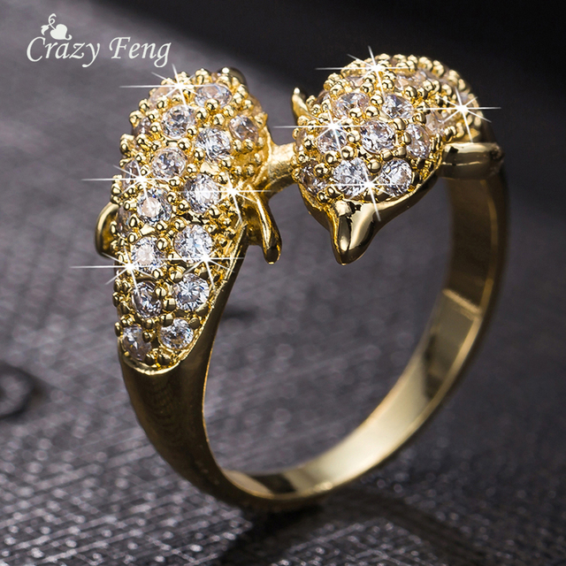 cz crystal engagement ring fashion wedding party jewelry charm dolphin rings for girls gift gold color - Dolphin Wedding Rings