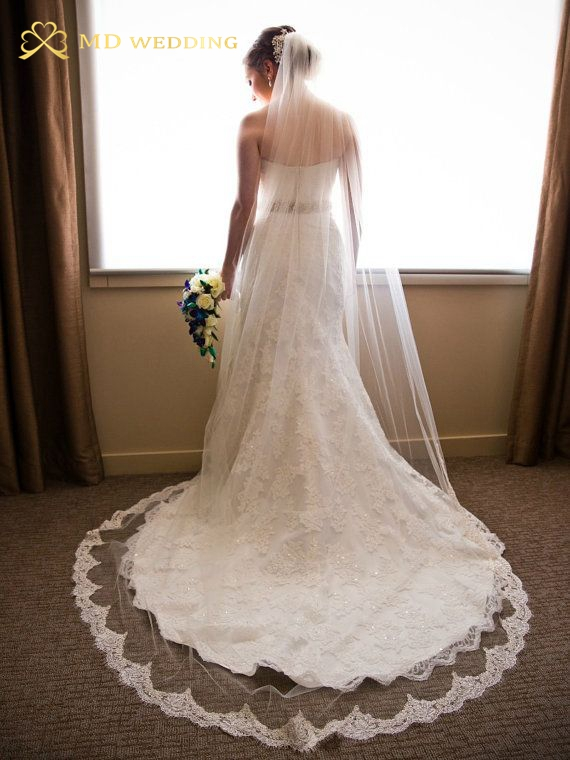 Free Shipping 3m White/Ivory Appliqued Lace Long Wedding Veil Bridal Veil Wedding Accessories 2015 With Comb MD111