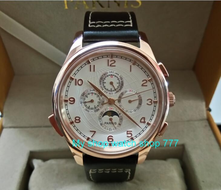 44MM PARNIS Automatic Self-Wind movement white dial multi-funtion men