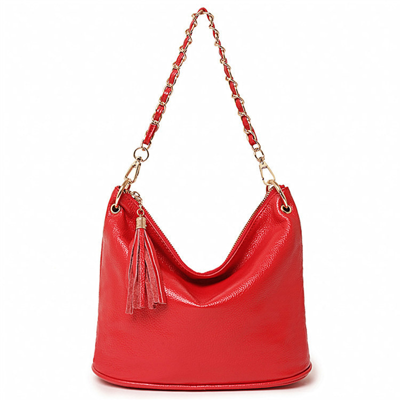 100% Cowhide Genuine Leather Bags Women 2018 Luxury Designer Handbags High Quality Famous Brand Chains Shoulder Bag sac Tassel zooler fashion chains high quality genuine leather bags handbags women famous brand ladies cowhide messenger shoulder bag bolsas