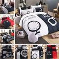 Ее боковая и боковая кровать  Комплект постельного белья  4 шт.  большой размер  модный Комплект постельного белья  одеяло  пододеяльник  Комп...