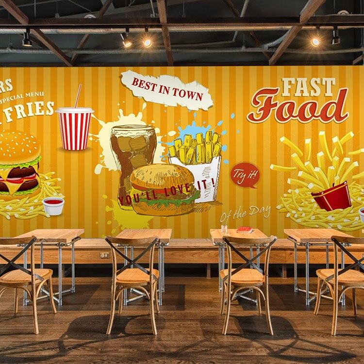 3d photo papier peint rapide alimentaire hamburger fran ais frites restaurant caf dessert. Black Bedroom Furniture Sets. Home Design Ideas