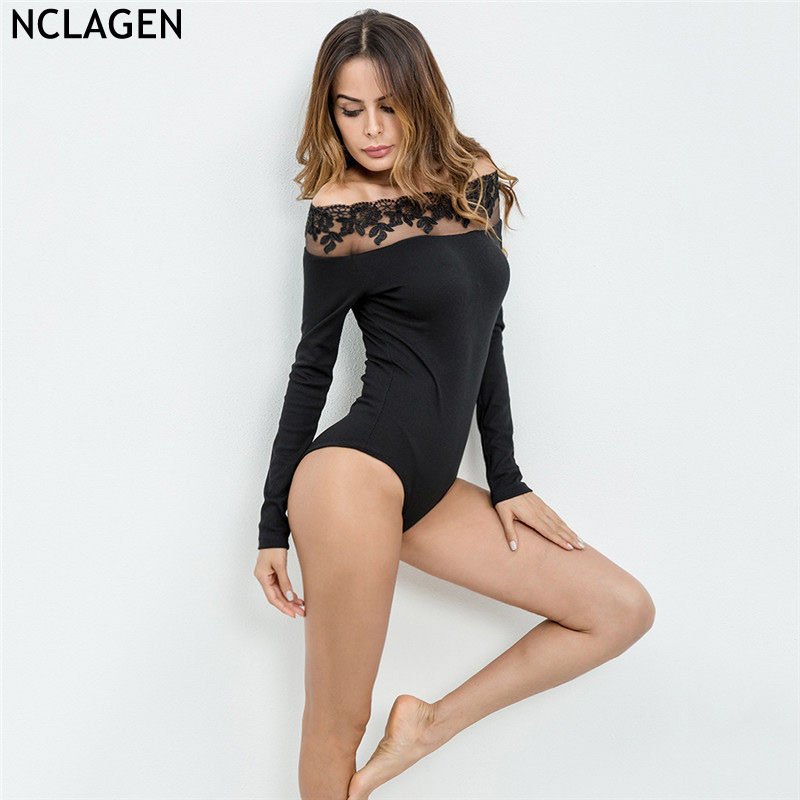 NCLAGEN 2018 New Women Spring Autumn Sexy Party Bodysuit Slim Fit Bodycon Slash Neck Bla ...
