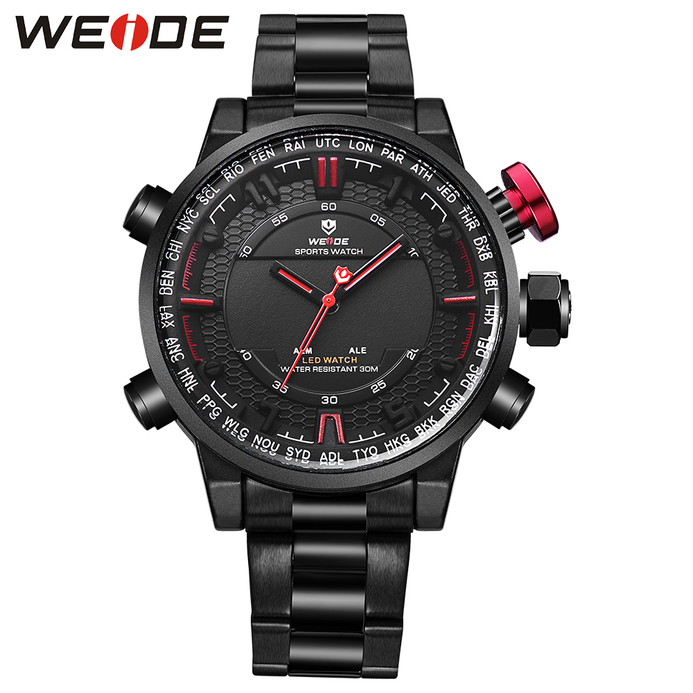 WEIDE mens quartz contracted watches brand luxury casual sport watches men clock  stainless steel bands strap led analog watch weide casual genuine luxury brand quartz sport relogio digital masculino watch stainless steel analog men automatic alarm clock