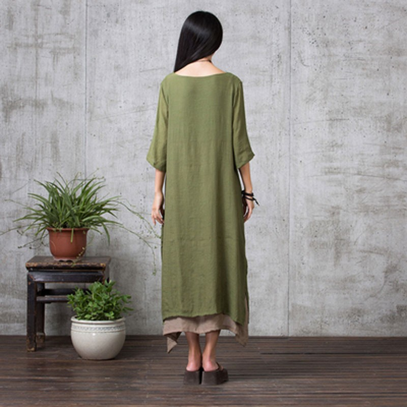 Newest 2018 Autumn Women Dress Vintage Cotton Linen Long Maxi Dresses  Casual Loose Oversized Vestidos Plus Size-in Dresses from Women s Clothing  on ... 958b93395e78