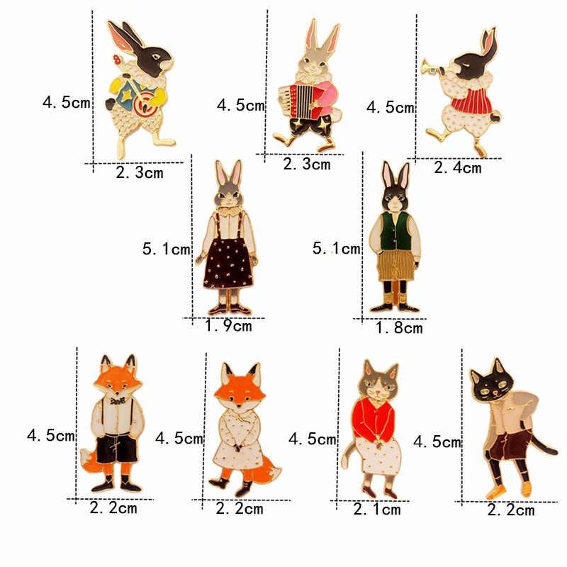 TAFREE Giapponese Smalto Distintivi e Simboli Coniglio, fox Della Lega Risvolto Spilli Brooch di Modo di Monili di Cartone Spilli Up Per I Vestiti o in Borsa accessori