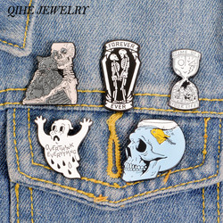 QIHE JEWELRY The skeleton Cat Pins Skeleton Love Brooches Ghost Badges Sea Life Lapel pins Gothic Skull Love Jewelry