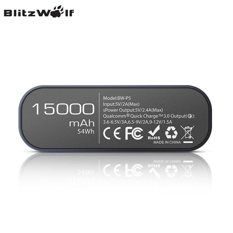 Banco do Poder blitzwolf bw-p5 15600 mah carga Tipo : Emergencial / Portátil