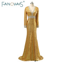 2017 Gold Evening Dresses Long Sleeves V Neck Beading Prom Dress Elegant Shinning Crystal Evening Gowns
