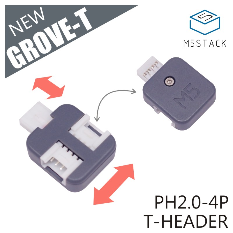 M5Stack New Grove-T Connector 5pcs A Pack PH2.0 4Pin T Type Grove Header Connector With 3 Ports Compatible With Grove Demoboard