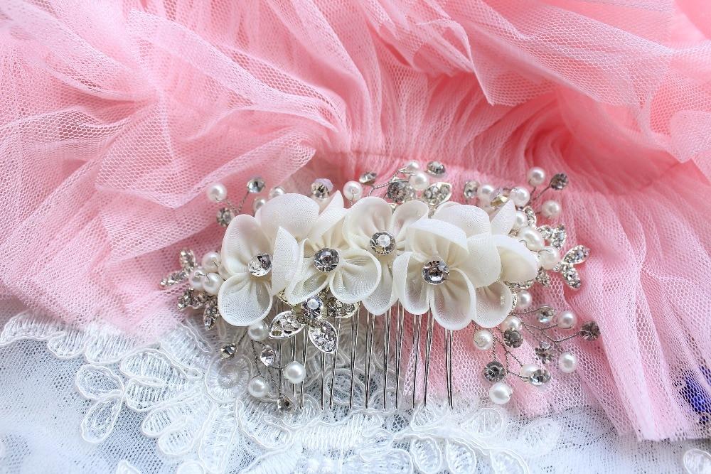 bridal headpiece, rhinestone bead headpiece, pearl bead headpiece, bridal headband, hair flower, bridal chiffon flower, TS15005