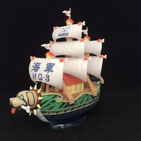 5 One Piece Grand Ship Garp's Navy Marine Boat Warship 13cm PVC Figure Collection Model Toy Doll Gift