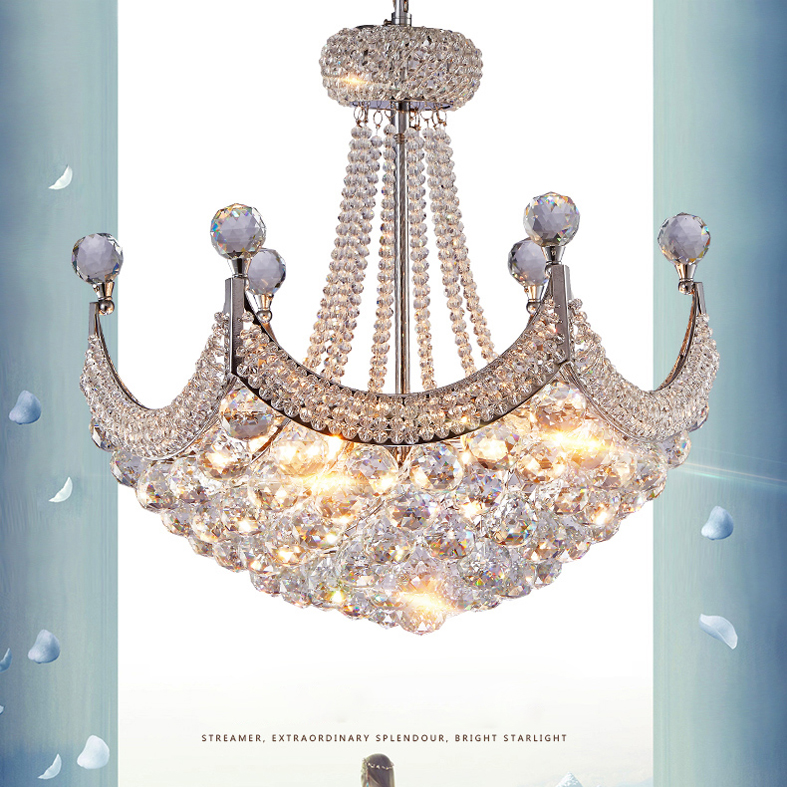 American Modern Chandeliers LED Lamps Silver Gold K9 Crystal Chandelier Lights Fixture Hall Foyer Bed Living