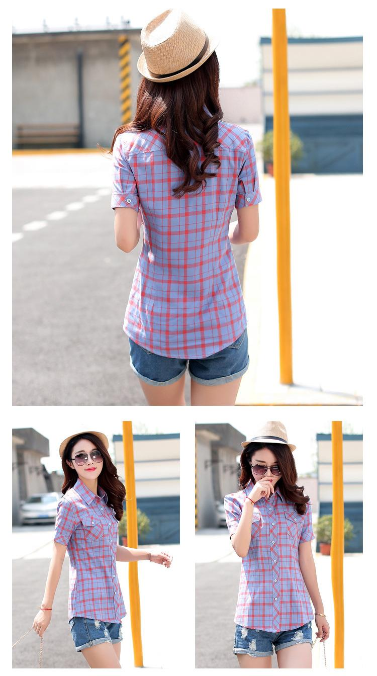 HTB1jCD0JFXXXXcuXpXXq6xXFXXX1 - New 2017 Summer Style Plaid Print Short Sleeve Shirts Women