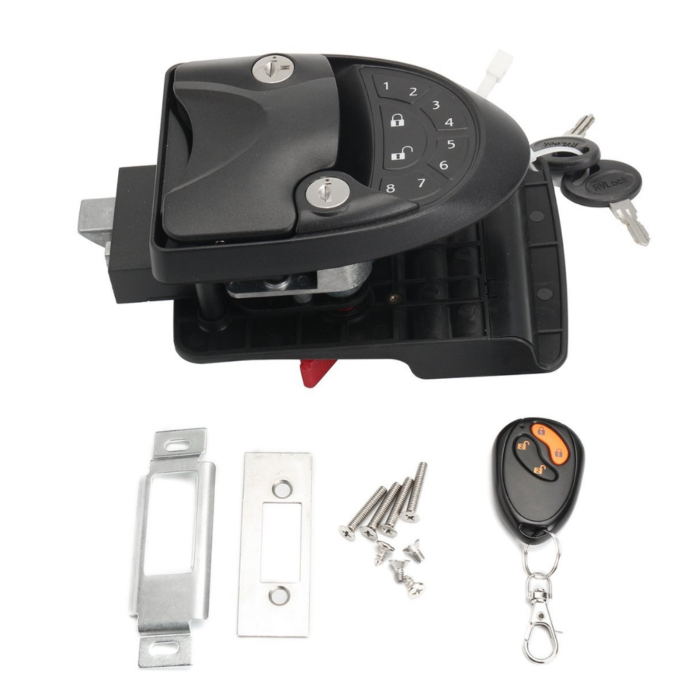 RV Trailer Hitch Lock with Advanced Keyless Handle and Integrated Keypad including Two Keys & Two Key Fobs Batteries NOT Inclued t handle vending machine pop up tubular cylinder lock w 3 keys vendo vending machine lock serving coffee drink and so on
