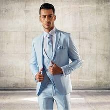 Latest Coat Pant Designs Italian Light Blue Men Suit Slim Fit 3 Piece Groom Tuxedo Custom Fashion Prom Blazer Terno Masculino D6
