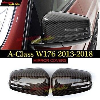 Für Mercedes Benz W176 Spiegel schwarz Carbon fiber A-Klasse A180 A200 A250 300 A45 Spiegel Abdeckung Spiegelabdeckung 1 1 Ersatz 2013-18