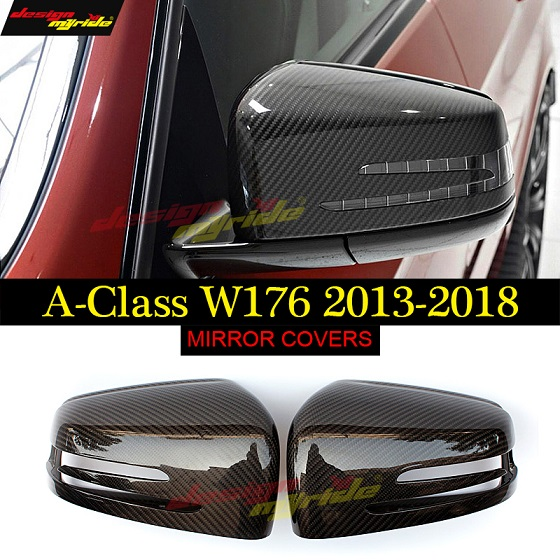 for Mercedes Benz W176 Mirror black Carbon fiber A Class A180 A200 A250 300 A45 Mirror Cover Spiegelabdeckung 1 1 Ersatz 2013 18 in Mirror Covers from Automobiles Motorcycles