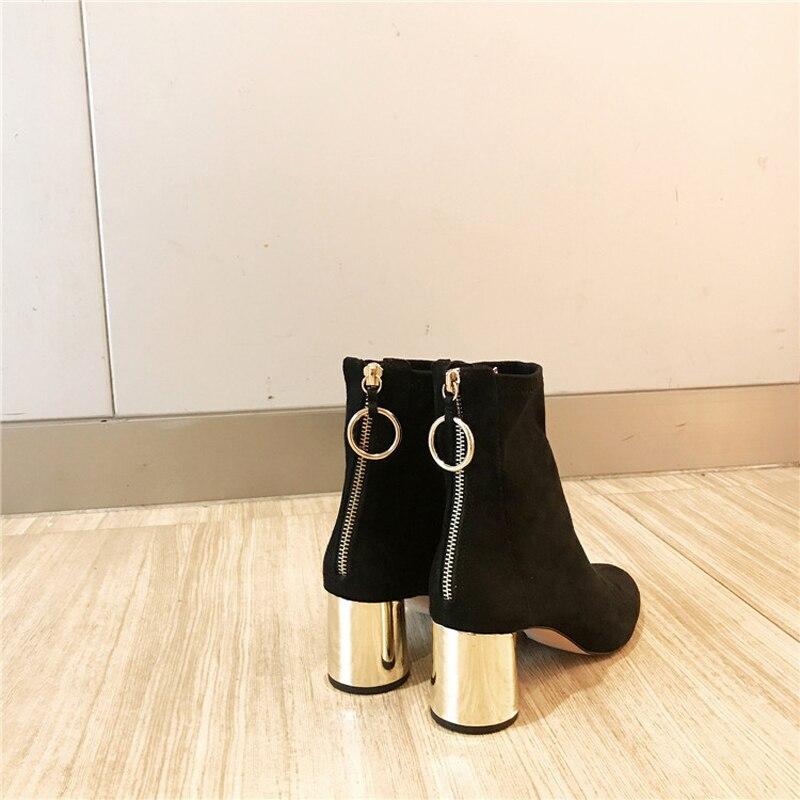 Élégant Nu Style Femmes Les Designer Noir Cuir Chaussures Bootie Métal Pour Glissière Bota Coréenne À En Retour Talon Rond Stylesowner Daim qnxIP5ZpZ