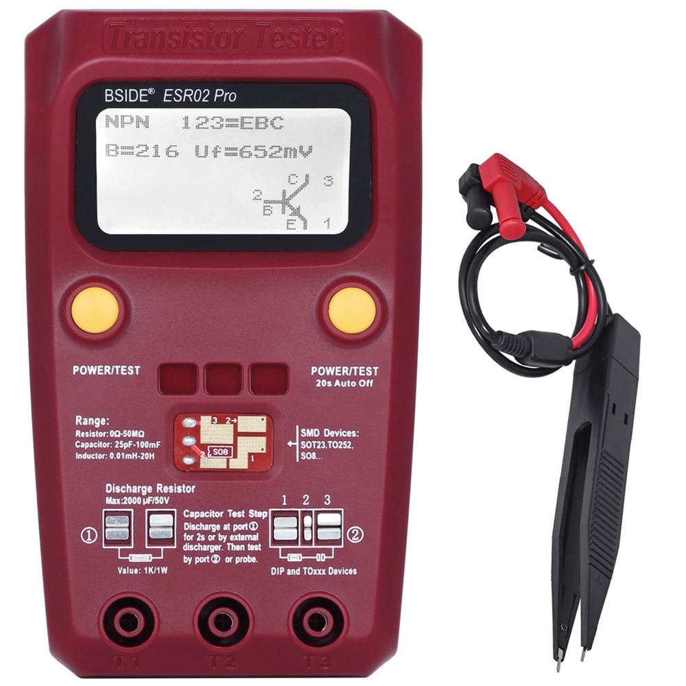 BSIDE ESR02 pro ESR02 Multi-zweck Transistor Tester Diode Triode Kapazität Widerstand Meter MOS/PNP/NPN SMD tester