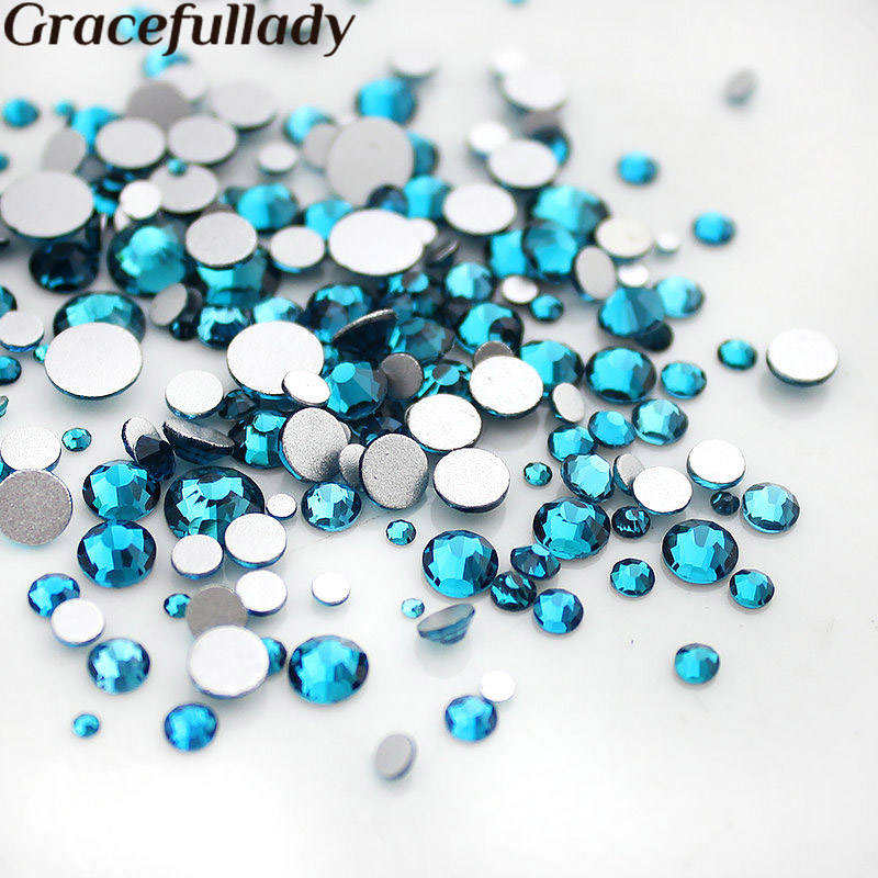 SS3-SS30 Mixed Size Nail Art Rhinestone Glass Flatback Non HotFix Rhinestones Glue On For Nails Decorations 1000pcs/bag 1pack colorful mixed size nail art rhinestones shiny ab crystal non hotfix flatback glass 3d diy gems manicure nails decorations