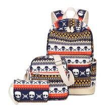 Winner marke 3 teile/satz druck frauen geometrische rucksack schädel leinwand bookbags set rucksack schultaschen für mädchen im teenageralter