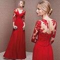 Robe de soirée longue sexy decote em v 3/4 manga a line Red Chiffon Longo Vestido de Festa Apliques Plissado Mais Recentes Modelos Vestido De Noite