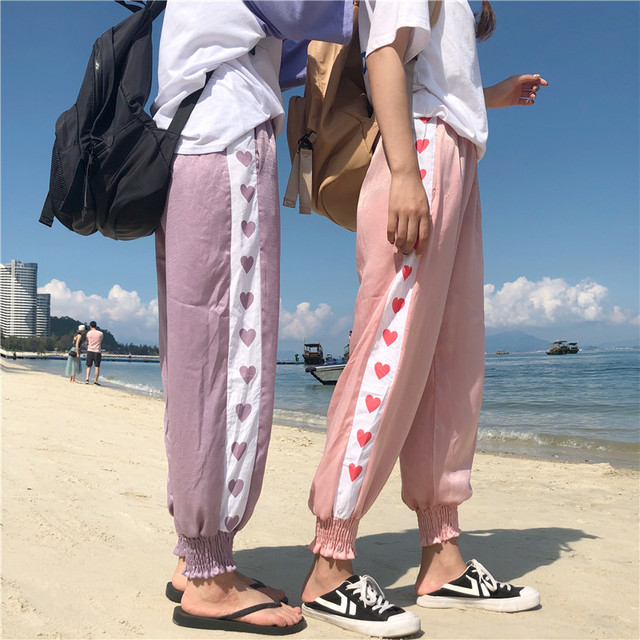 94e47954aaa02c Women's Trousers Korean Harajuku Ulzzang Teenage Girl Ins Love Loose Pants  Sunscreen Female Cute Japan Kawaii