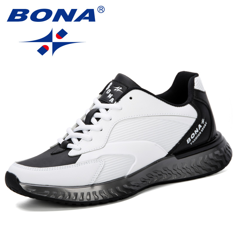 BONA 2019 Spring Autumn Antiskid Bottom Shoes Lightweight Male Comfortable Fashions Hombre Sneakers Cow Leather Men