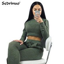 winter Women Two Piece Outfits Pants Set Rompers Jumpsuit Long Pants 2 Piece Set army green o neck Crop Tops Bodycon Palysuit