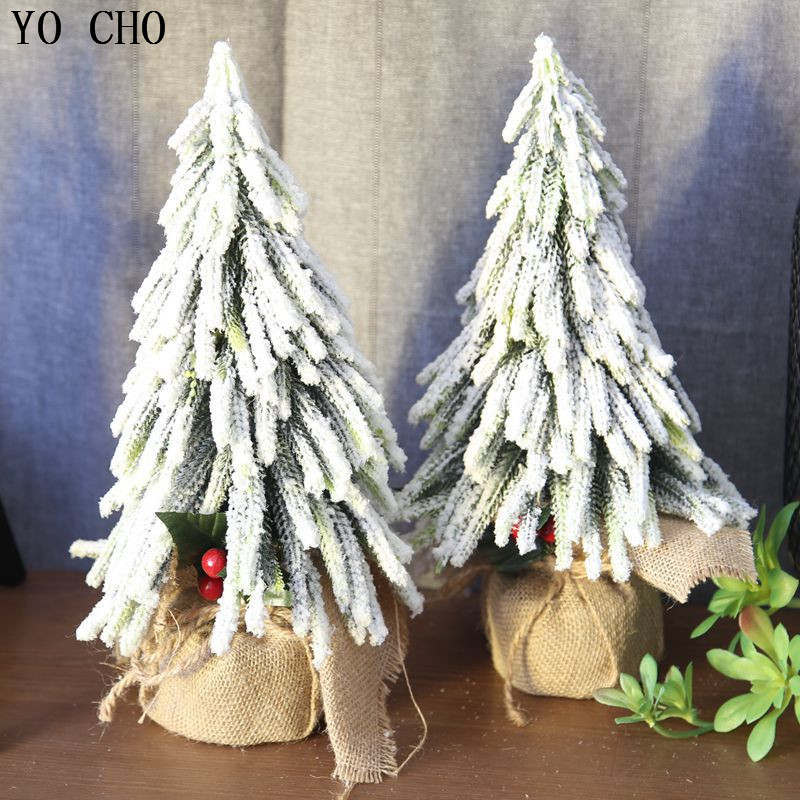 YO CHO Artificial Plants Flower High end Eco friendly PVC Xmas Snow Tree For Xmas Decoration Home Garden DIY Decor Fake Plants