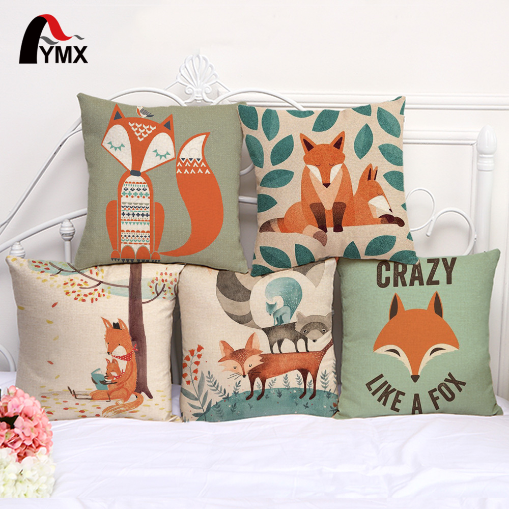 18 Children Cartoon Hand Painted fox Cotton and Linen Printing Pillow Cases Cute fox Sofa Cushions Cover Car Lumbar Wholesale