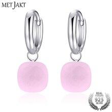 MetJakt Classic Natural Pink Agate Drop Earrings Solid 925 Sterling Silver Cute Earring for Ladies Luxury Jewelry
