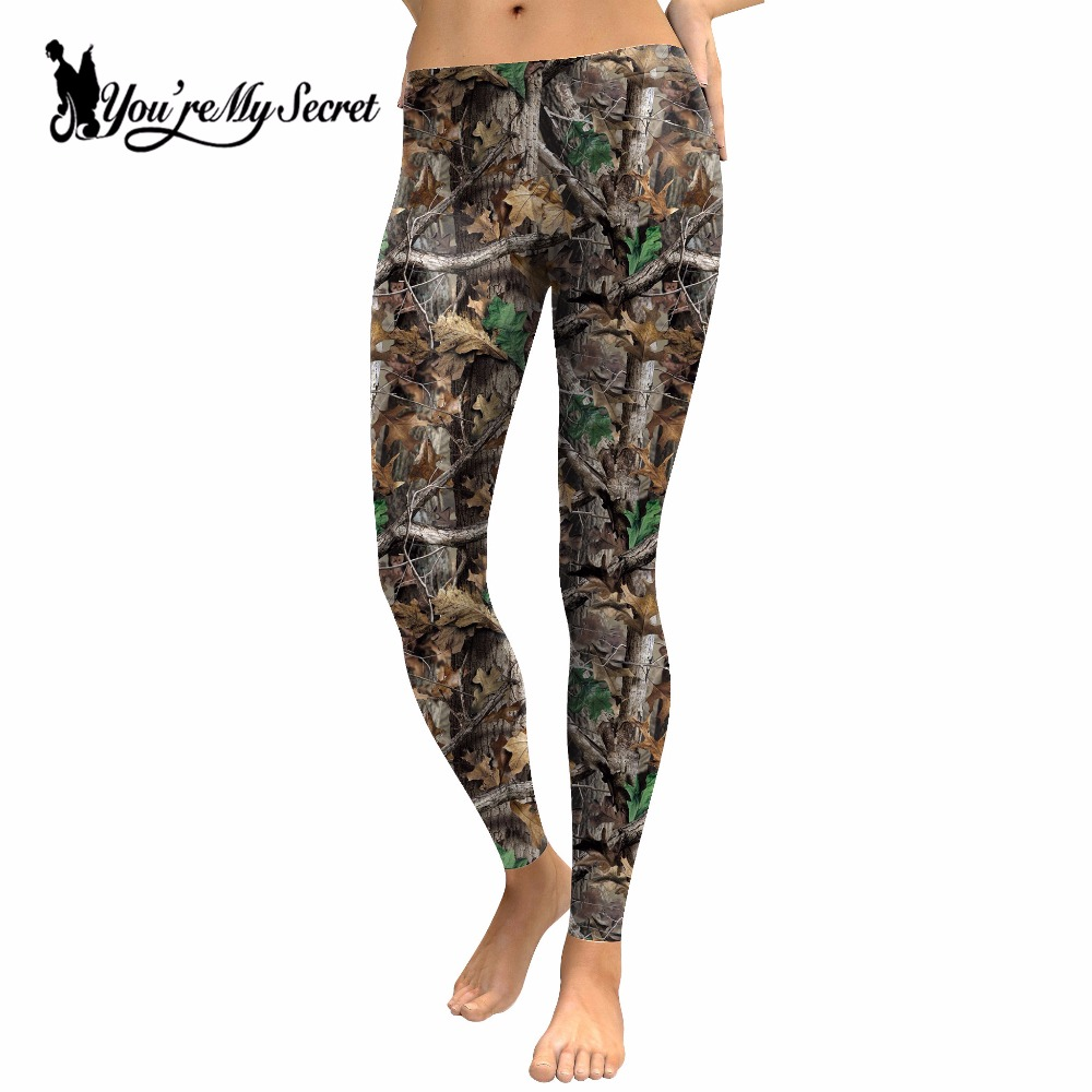 [You're My Secret] Spring Style Hunt Festival Leggings Women Hunt Group Tree Leaves Printing Leggins High Waist Pants