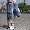 Mens Hiphop Verão Denim Jeans Baggy Shorts Homens Plus Size Grande Bolso de carga Shorts Jeans Para Homens Comprimento Bezerro Denim Shorts 30-46