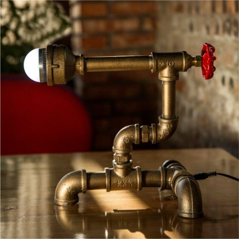 Laborioso Mano Fai Da Te Unico Vintage Tubo Di Acqua Luci Del Tubo Lampade Da Tavolo Lampade Da Tavolo Illuminazione Di Vacanza Bar Luce