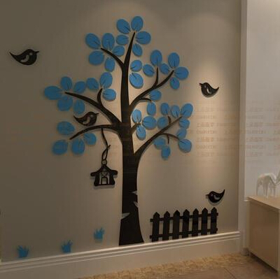 3D Crystal Acrylic three-dimensional tree birds wall stickers Childrenbedroon Sofa Home decoration Big size - Zeng yong Wall Store store