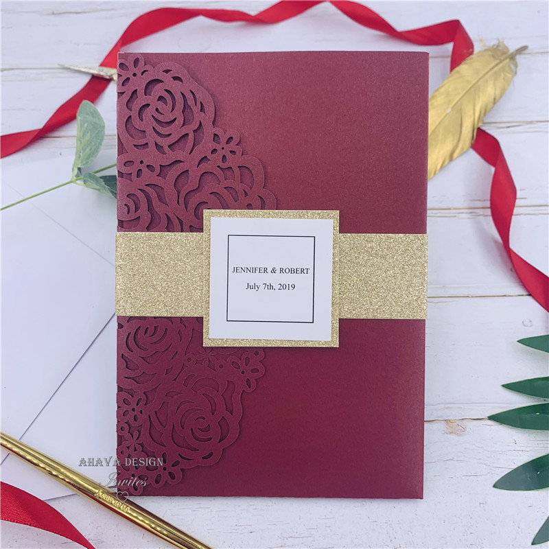 Gorgeous Burgundy Lsser Cut Wedding Invitation With Belly Band Tag Customized Insert And RSVP card