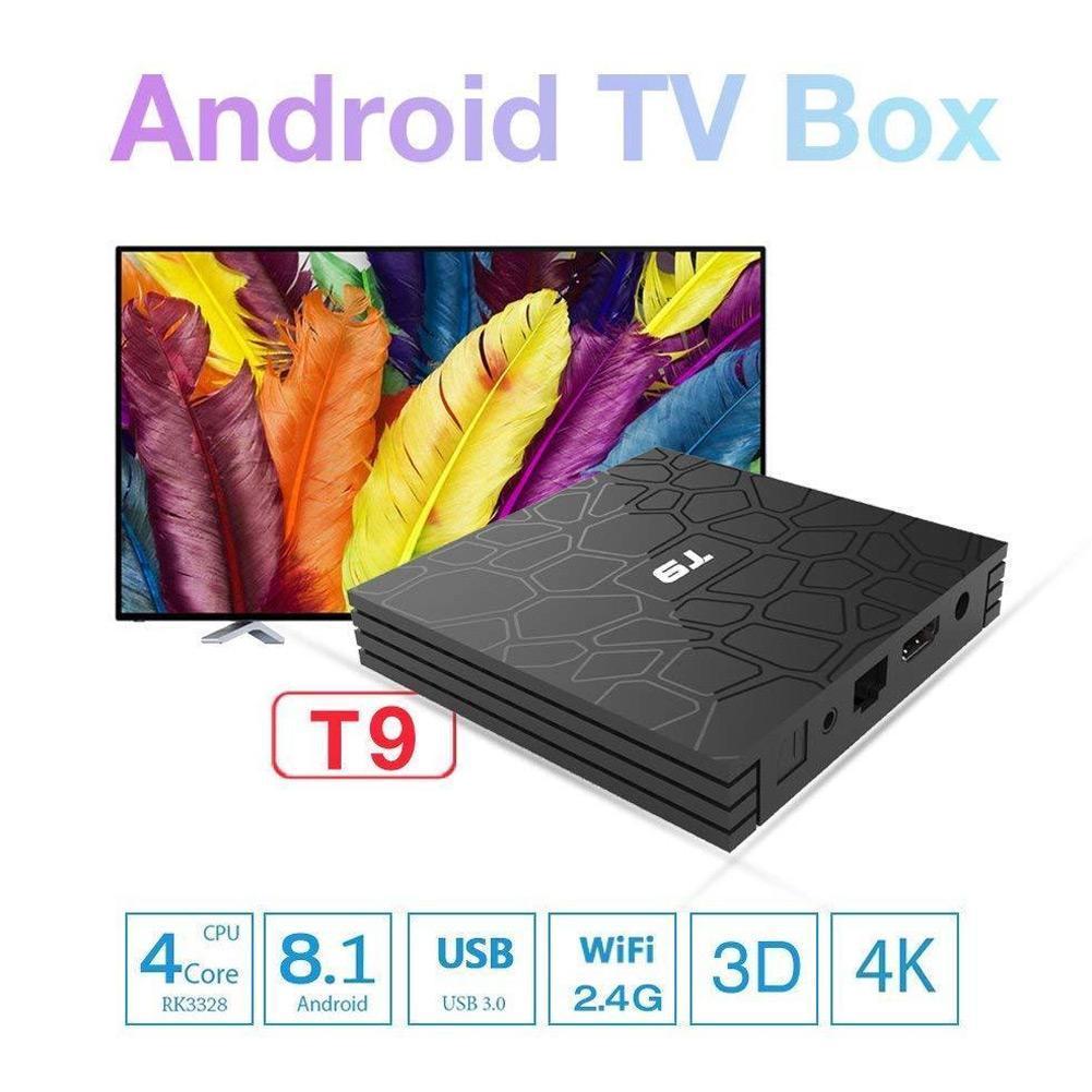 CUJMH T9 TV Box Android 8.1 4 GB 32 GB/64 GB Smart TV Rockchip RK3328 1080 P H.265 4 K pour Google Play Netflix Youtube lecteur multimédia