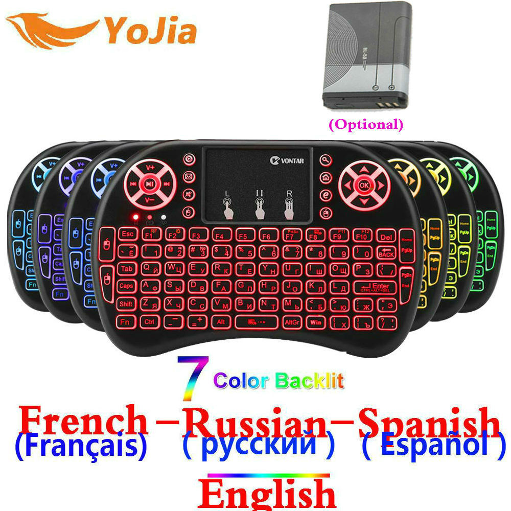 En inglés y ruso español hebreo francés mini teclado inalámbrico de 2,4 GHz i8 Touchpad Backlight i8 teclado para Android TV BOX PS3 PC