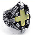 Mens Stainless Steel Ring Gothic Skull Cross Gold Black Silver US size 8 to 13 Drop Shipping