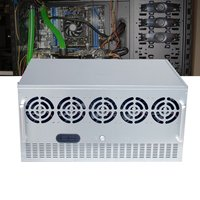 Open Air Mining Frame Rig Graphics Case ATX Mining Power Supply Fit 12xGPU Bays +10xFans Bays + 2xPower Supplye Mount Slot