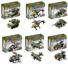 6 sets/lot 306pcs small parts Kids Educational building block Assembled Military Model vehicle toys