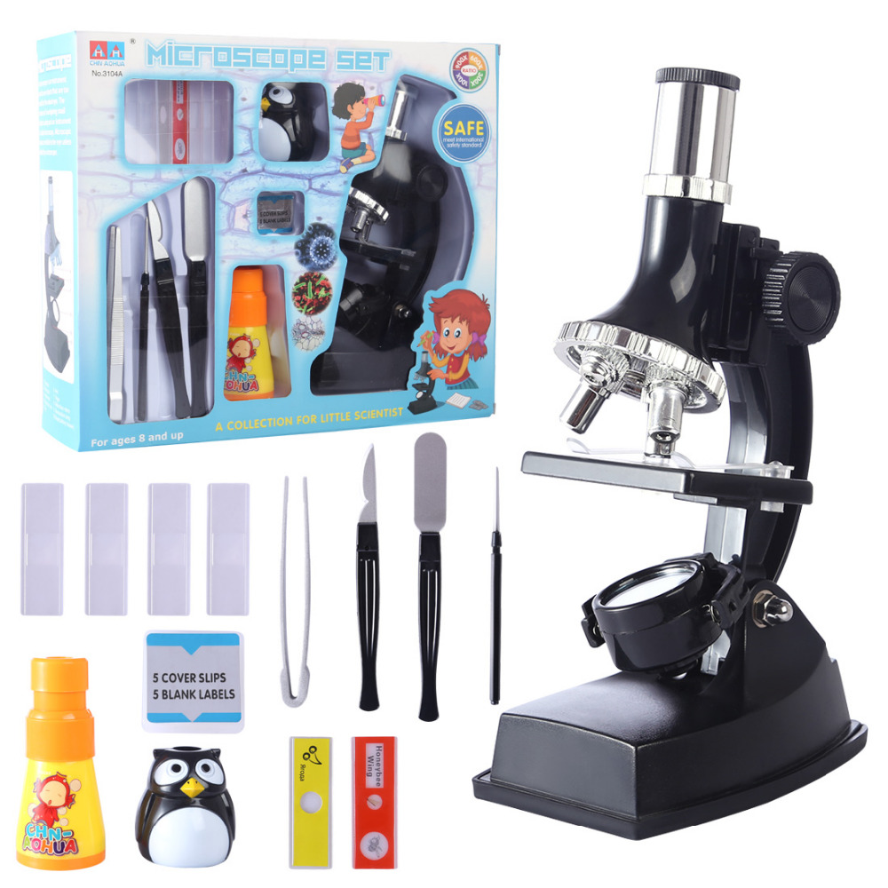 900x Children Microscope Set With Lamp For Kids Educational Science Toys Learning Toys For Children- Black