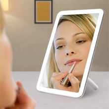 Desktop Touch Screen Led Light Makeup Mirror USB Rechargeable Vanity Folding With Lights Table Mirrors Cosmetics Lamp