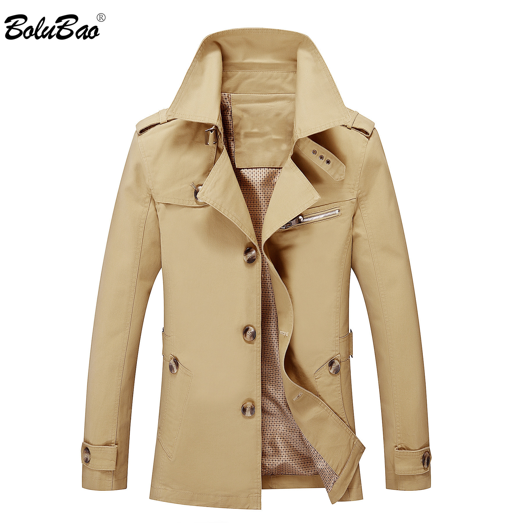 BOLUBAO New Men Trench Coats Autumn Fashion Brand Men's Slim Fit Solid Color Trench Casual Thin Section Trench Male