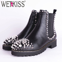 WETKISS Punk Women Ankle Stud Boots Round Toe Footwear Leather Female Boot Fashion Casual Thick Heels Shoes Woman Spring 2019