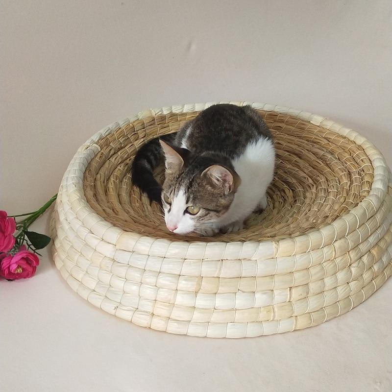 SMARTPET Small Large Cat Summer Natural Air Permeable Handmade Straw Pet Sleeping Bed Handmade Kitten Scratching Board in Cat Beds Mats from Home Garden