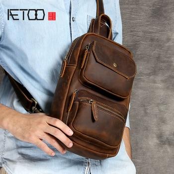 AETOO Mad Horse Leather man Chest bag original leather retro head cowhide casual shoulder crossbody bag цена 2017