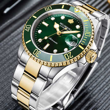 MG.ORKINA Green Stainless Steel 316L 40MM Case Auto Date Men\'s Mechanical Watches Diving Waterproof 30M Automatic Luminous Watch